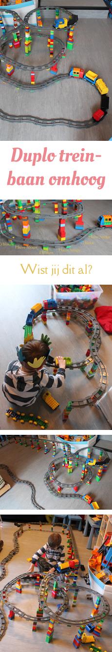 Duplo train ideas building tracks. Fun for kids. | Duplo trein idee: bouw een baan omhoog. Leuk voor kinderen. Klik om te zien hoe je zo'n gave treinbaan bouwt.