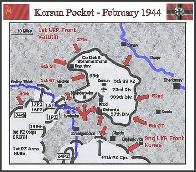 Korsun Pocket Military map
