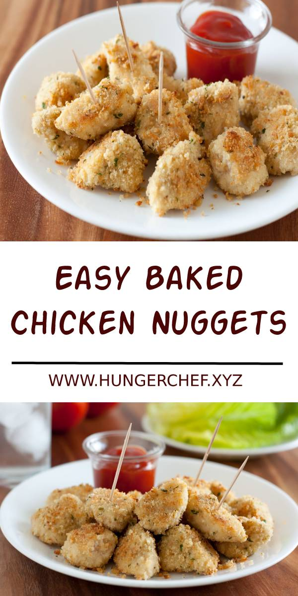 Easy Baked Chicken Nuggets Recipe #baked #bakedchicken #chicken #chickenrecipes #nuggets #lunch #healthylunch