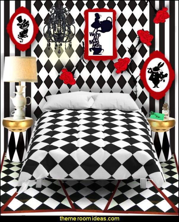 Alice in Wonderland bedroom decor - Alice in wonderland themed rooms - design  an Alice in Wonderland Bedroom  - Alice in Wonderland bedroom ideas - Alice in Wonderland bedding - Alice in Wonderlnd wall decals - Alice in Wonderland wall murals - alice in wonderland wallpaper mural -  tea party theme - alice in wonderland bedroom furniture - Harlequin stencils