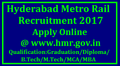 Hyderabad Metro Rail Recruitment 2017 Hyderabad Metro Rail Recruitment 2017 | Apply Online for 2750 Various Railway Jobs @ www.hmr.gov.in Hyderabad Metro Rail Corporation The employment notification as Hyderabad Metro Rail Recruitment 2017 has been derived by Hyderabad Metro Rail Corporation. Railway department will all set to appoint to the 2750 eligible and talented job hunters for various vacant jobs. The one who is looking for this Latest Government Jobs must utilize this opportunity. Online application form for Hyderabad Metro Rail Notification has been uploaded on the official website to invite the interested job seekers who possess B.Tech/Diploma/Graduation from well-reputed institute/college. We are suggesting to all the job hunters that stay connected with us to get direct link of online application form which will be available soon at the official website./2017/10/hyderabad-metro-rail-recruitment-2017-notification-apply-online-www.hmr.gov.in-hall-tickets-model-question-papers-syllabus-answer-key-results-download.html