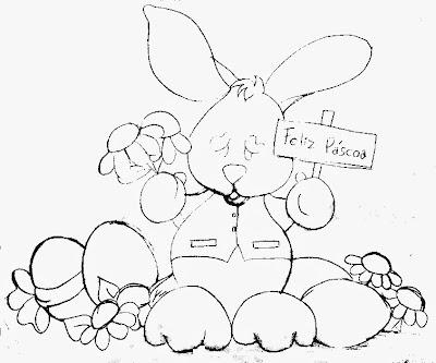 desenho de coelho com ovos de pascoa, margaridas e plaquinha para pintar.