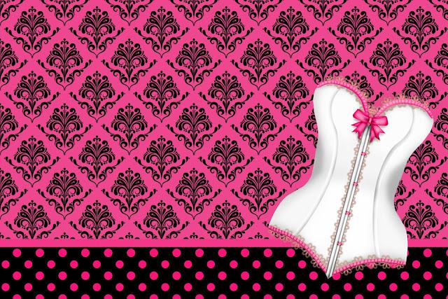 Para hacer Invitaciones, Tarjetas o Marco de Fotos para Imprimir Gratis de Lencería en Rosa.