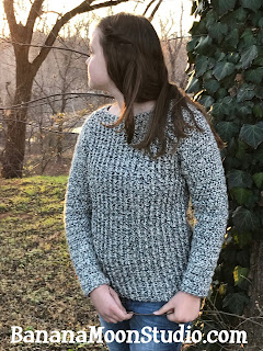 Crochet sweater pattern, crochet sweater in chunky yarn, crochet pattern by April Garwood of Banana Moon Studio
