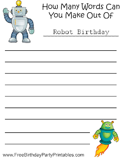 Free Robot Birthday Party Printables- How Many Words Can You Make Game