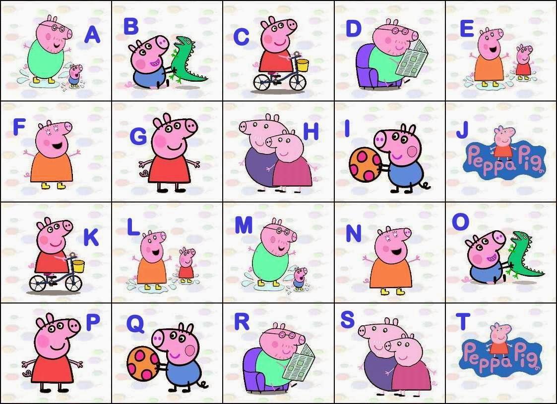 Alfabeto de Peppa Pig y su familia.