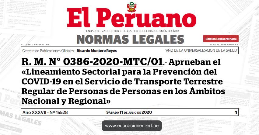 R. M. N° 0386-2020-MTC/01.- Aprueban el «Lineamiento Sectorial para la Prevención del COVID-19 en el Servicio de Transporte Terrestre Regular de Personas de Personas en los Ámbitos Nacional y Regional»
