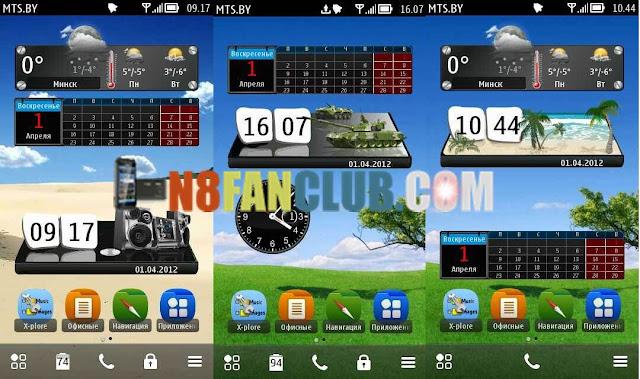 3D Digital Clock LG Widget - Nokia N8 - 808 PureView - Symbian Belle - Free Widget Download