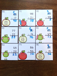 2 Digit Subtraction Regrouping Apple Task Cards