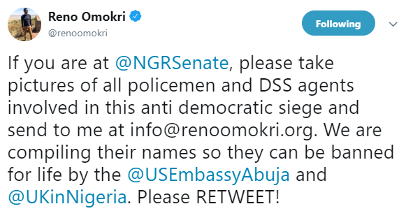 Reno Omokri threatens to ban all policemen DSS agents in the siege at the National Assembly from entering the US and the UK for life
