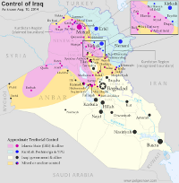 Map of territorial control in Iraq by the Islamic State and Kurdish Peshmerga, as of August 2014.
