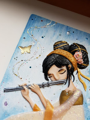 music, flute, muzyka, flet, dziewczyna grająca, okładka, notes, sketchbook, flecie