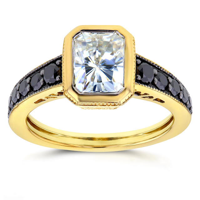 Antique Radiant Moissanite Bezel & Black Diamond Ring 2 1/5 CTW in 14k Yellow Gold