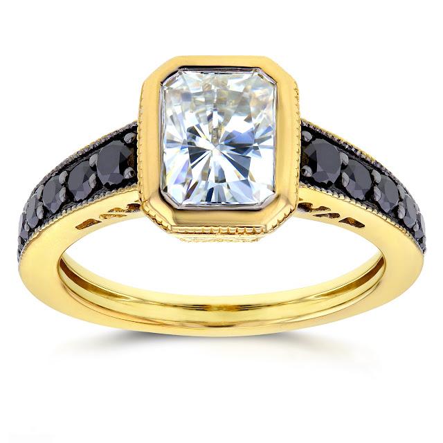 Antique Radiant Moissanite Bezel & Black Diamond Ring 2 1/5 CTW in 14k Yellow Gold