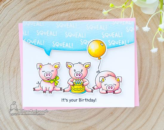 Pig Birthday Card by Tatiana Trafimovich | Oink Stamp Set  and Speech Bubble Die Set by Newton's Nook Designs #newtonsnook #handmade