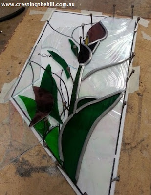 Creating a leadlight/stained glass stair rail insert - calla lily themed and quite a challenge. #leadlight #stainedglass