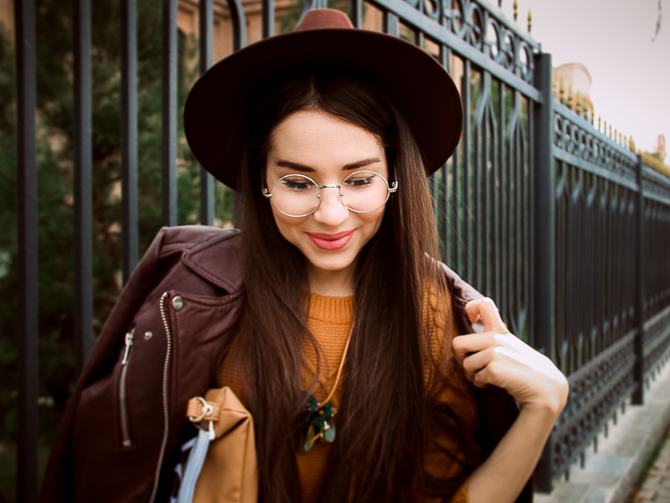 fashion blogger diyorasnotes brown outfit midi skirt leather jacket hat socks
