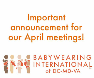 Important announcement for our April meetings!