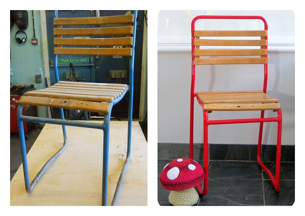 retro chair before and after restoration
