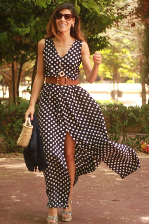 Maxivestido, long dress, look vestido largo, vestido de lunares