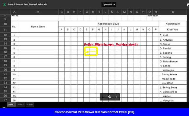 Contoh Format Peta Siswa di Kelas Format Excel [xls]