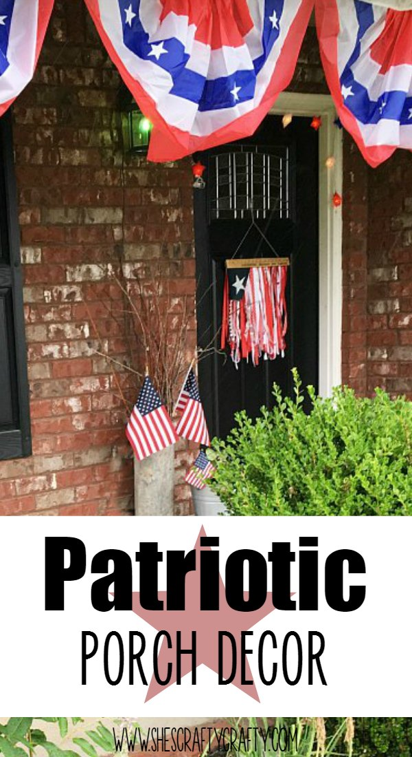 bunting, flag, porch, pillows, plants, how to decorate front porch