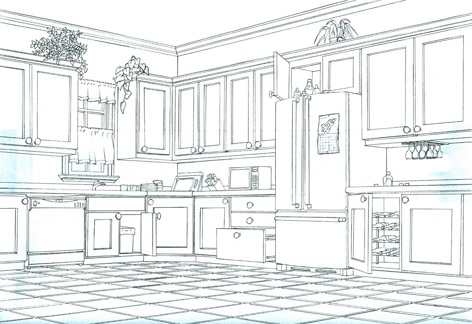 Octachoron Digital Blog: Two-Point Perspective Kitchen