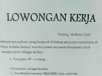 Lowongan Kerja Padang : Karyawan Toko HP