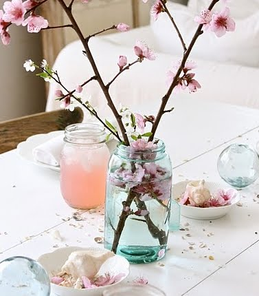 glass jar as vase
