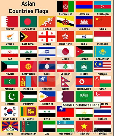 asia welcom countries and their flags