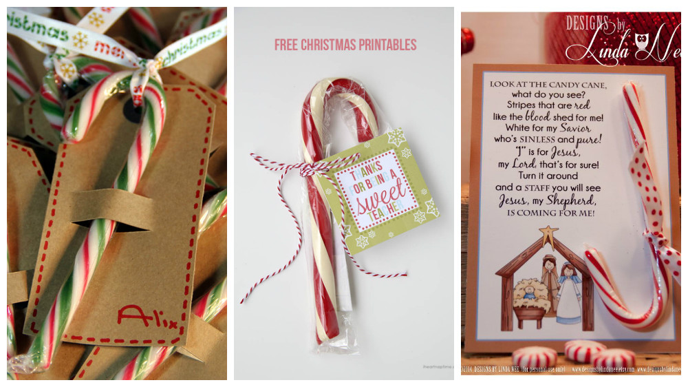 acompaa tus tarjetas de navidad con bastones de caramelo