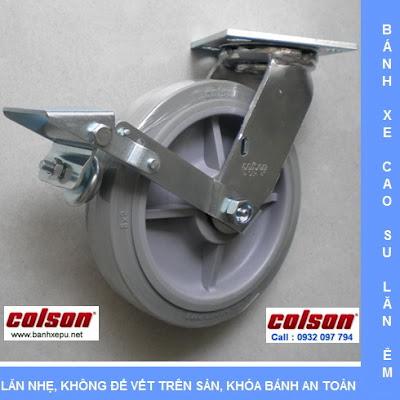 Bánh xe cao su có khóa chịu lực 304kg Colson phi 200 | 4-8199-459BRK1 www.banhxedayhang.net