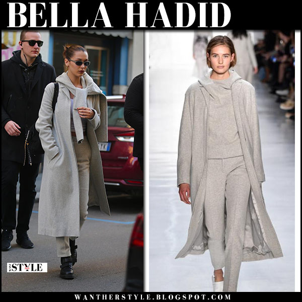 Bella Hadid in long grey coat noon by noor and black leather ankle boots dr. martens coralia model street style milan january 13
