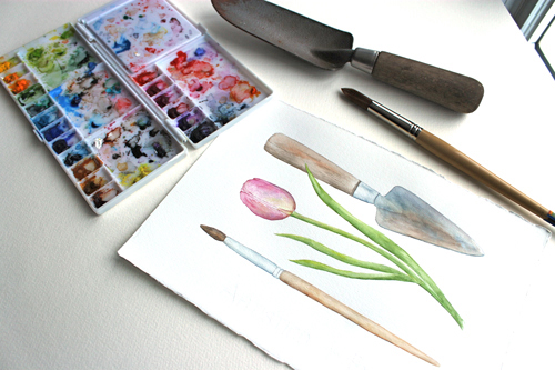 Watercolor painting of garden trowel and artist paintbrush