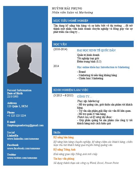mẫu thiết kế CV ấn tượng bằng word