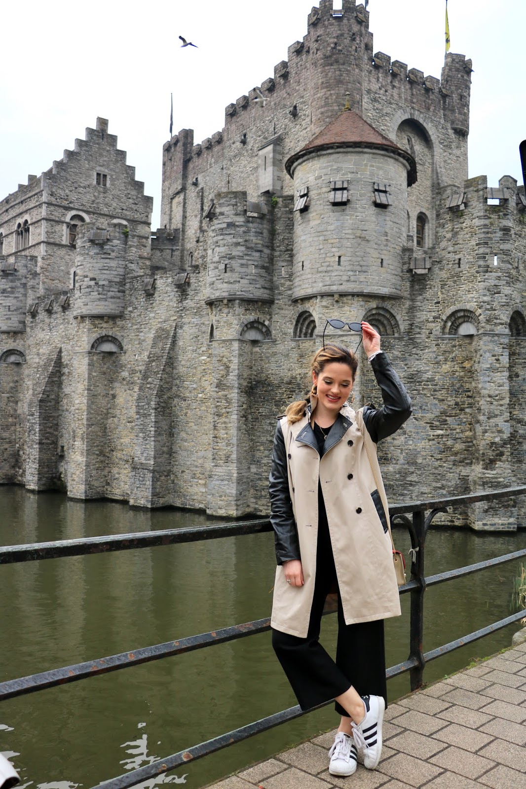 Travel blogger Kathleen Harper at Castle of the Counts in Ghent, Belgium