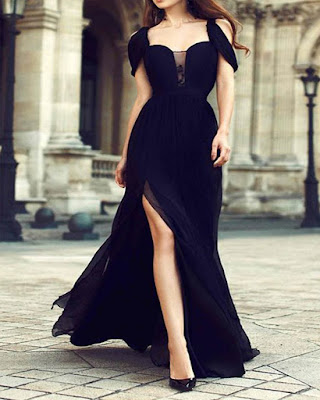 vestido largo negro formal de moda