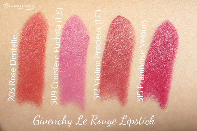 Givenchy Le Rouge lipstick swatches: 203 Rose Dentelle, 315 Framboise Velours, 309 Croisiere Fuchsia, 312 Violine Precieux