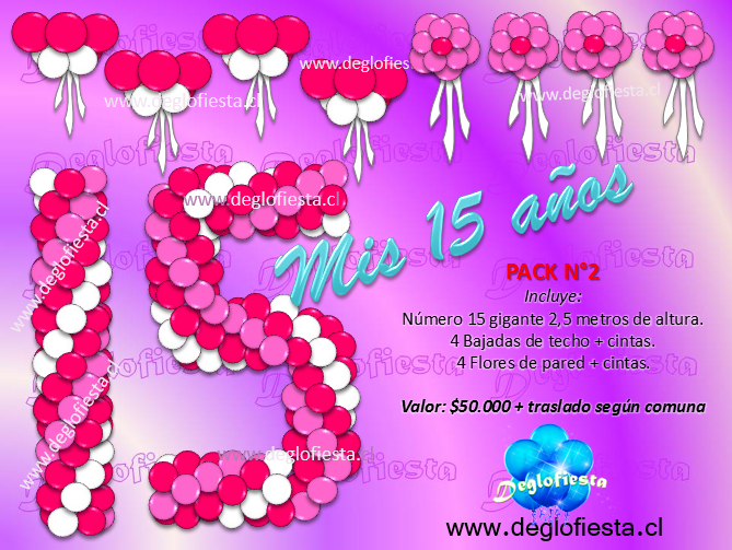 Deglofiesta chile decoraciones con globos para fiestas de for Decoracion para 15 anos 2016