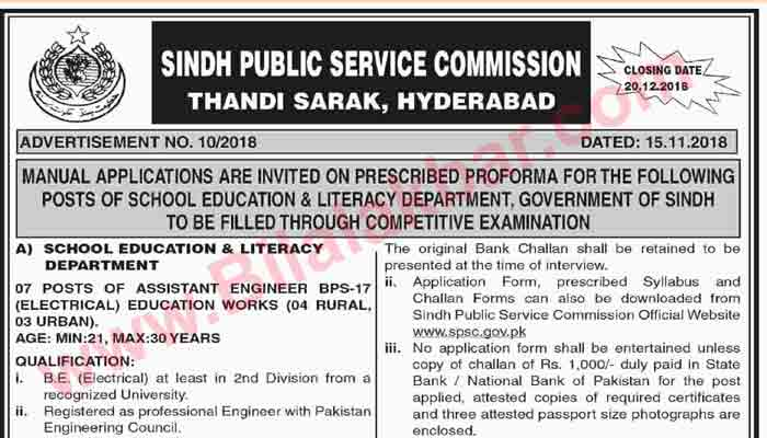 Sindh Public Service Commission Jobs in Education Department