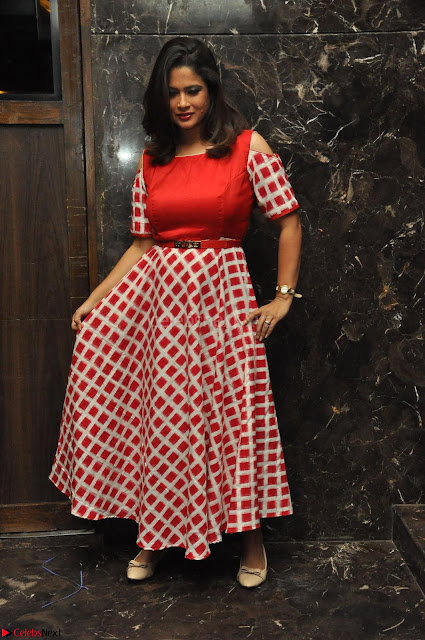Shilpa Chakravarthy looks super cute in Red Frock style Dress 001.JPG