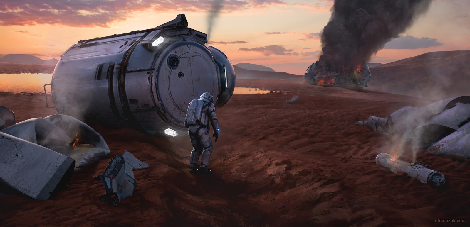 Remains of a crashed lander on Mars by Arthur Gurin