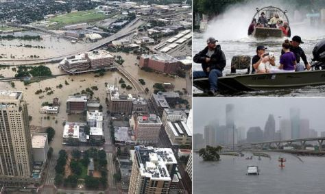 Photos from the destructive Hurricane Harvey, as thousands of residents trapped on their rooftops in flooded Houston, are pleading for help on social media