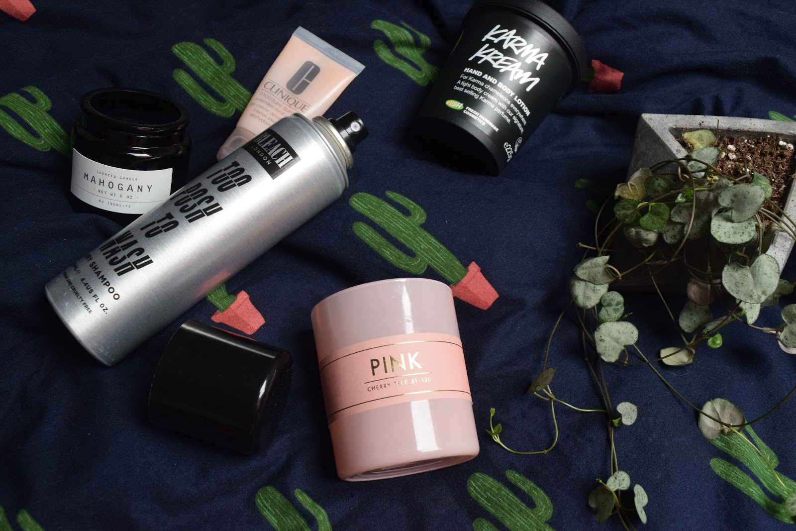 Flatlay of beauty products, candles and a string of hearts plant