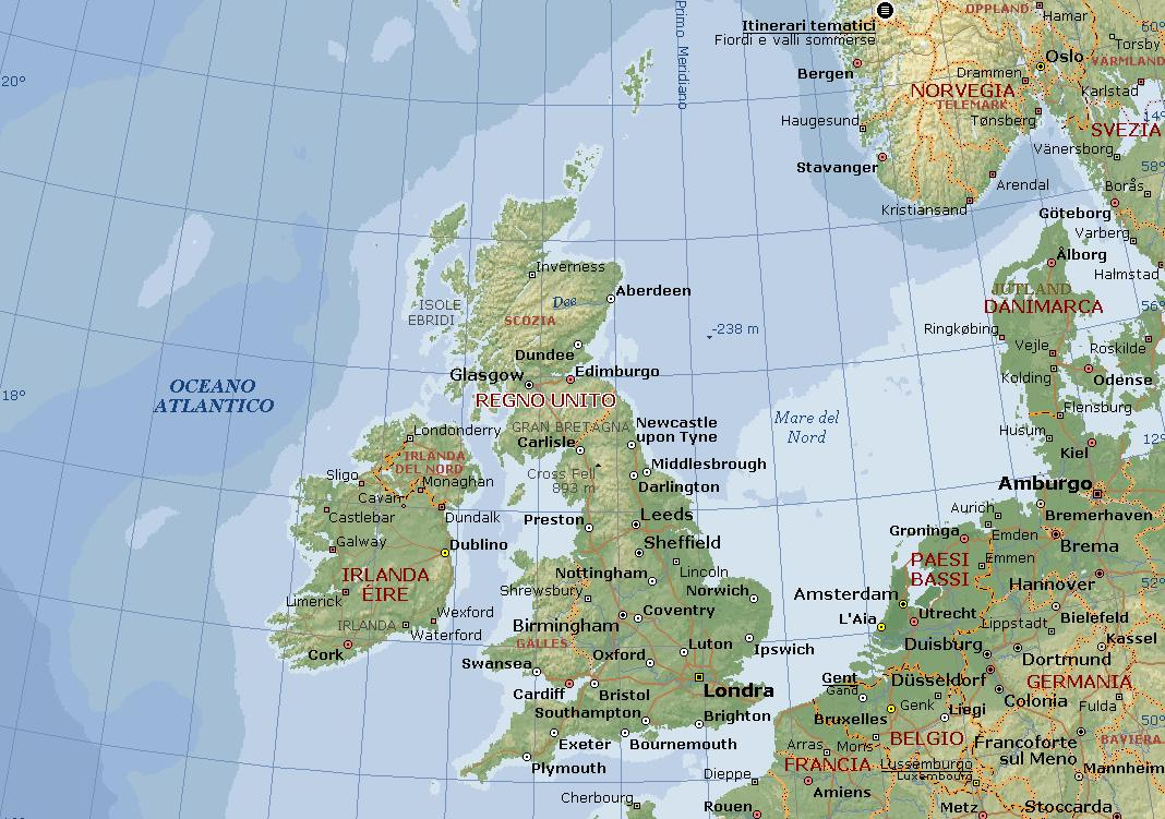 La Cartina Geografica Della Gran Bretagna.Secondaaponso La Gran Bretagna