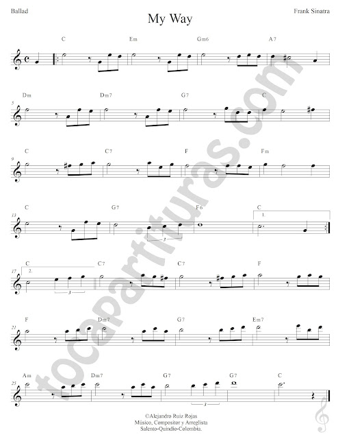 My Way de Frank Sinatra Partitura Clave de Sol con Acordes Sheet Music for Treble Clef & Chords
