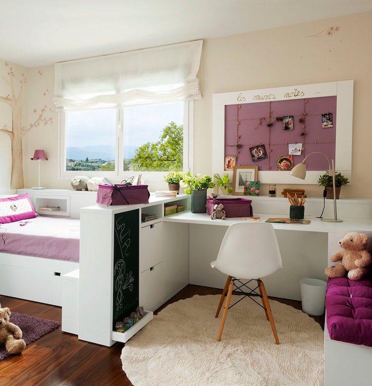 cama con escritorio y almacenaje en los pies