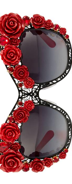 Dolce & Gabbana Lace Rose & Rhinestone Cat-Eye Sunglasses