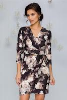 Rochie Aymi neagra cu imprimeu floral bej si picatele aurii