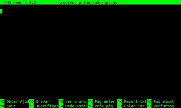 Editor nano primeiro script aberto